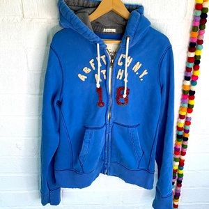 Abercrombie & Fitch Thick Blue Zip Up Hoodie sz L